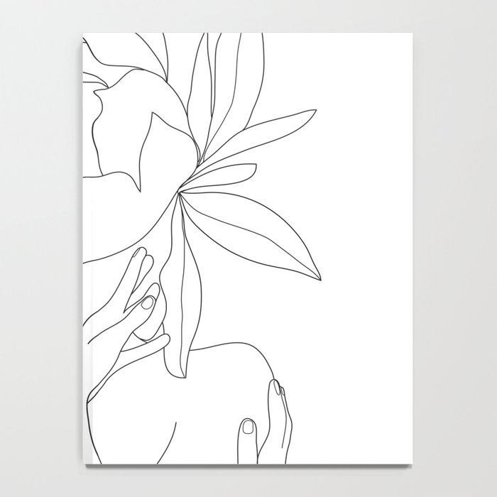 Minimal Line Art Woman Flower Head Notebook