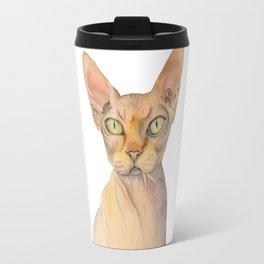 Sphynx Cat Watercolor Portrait Travel Mug