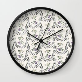 Natural Olive Leaf Berry Birds on Branch Wall Clock