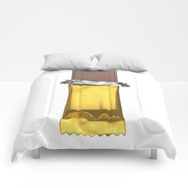 Chocolate candy bar in gold wrapper Comforters