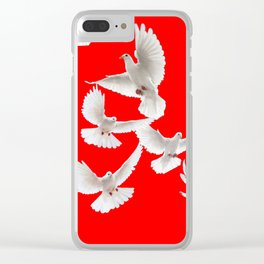 FLOCK OF WHITE PEACE DOVES ON RED COLOR Clear iPhone Case