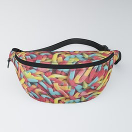 Neon Sour Gummy Worms Photo Pattern Fanny Pack