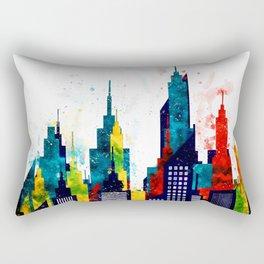 New York City Skyline Concept in Watercolors Rectangular Pillow