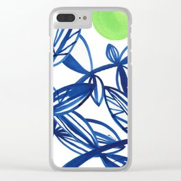 Navy blue and lime green abstract leaves Clear iPhone Case