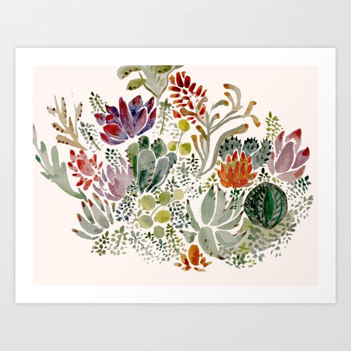 Succulents Art Print By Hannahgraff Society6