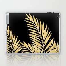 Palm Leaves Golden On Black Laptop & iPad Skin