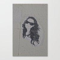 sticker Canvas Prints featuring Sticker Woman by Q'ba