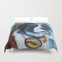 nori Duvet Covers featuring Nori the Therapy Boxer by Barking Dog Creations Studio