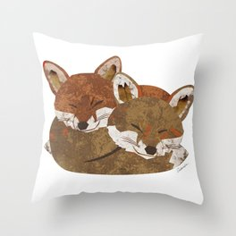 Shelter (Stacked Foxes) Throw Pillow