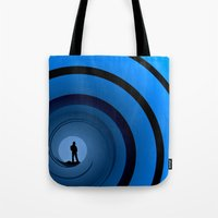 bond Tote Bags featuring Bond Man by Steve Purnell