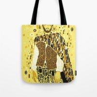 klimt Tote Bags featuring Klimt Eastwood by Frederick Hoffman