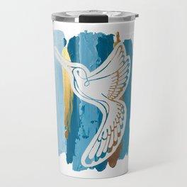 Hummingbird Brush Strokes Travel Mug