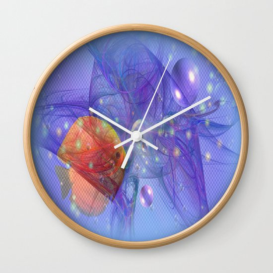 Fish world wall clock by laake photos society6 for Fish wall clock