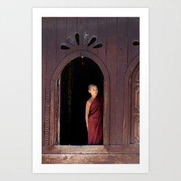 Student Monk   Temple at Inle Lake   Myanmar Travel photography Art Print