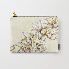 Yellow Orchid on Cream Carry-All Pouch