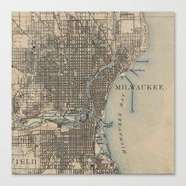 Vintage Map of Milwaukee Wisconsin (1899) Canvas Print