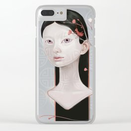 Japanese Black Blossom Clear iPhone Case