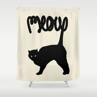 meow Shower Curtains featuring Meow by Florent Bodart / Speakerine