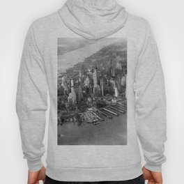 1931 Manhattan, Hudson River, and East River Skyline Aerial black and white photograph Hoody