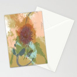 Autumnal Brushstrokes, Abstract Floral Art Stationery Cards
