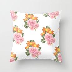 Summer Floral Print Throw Pillow