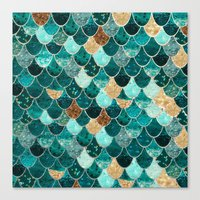 green Canvas Prints featuring REALLY MERMAID by Monika Strigel