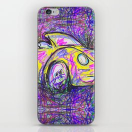 Expressive Bright Yellow V W Beetle created under the influence of Caffine by annmariescreations iPhone Skin