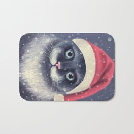 Christmas cat with a mustache Bath Mat
