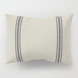 Grey Stripes on Linen color background French Grainsack Distressed Country Farmhouse Pillow Sham