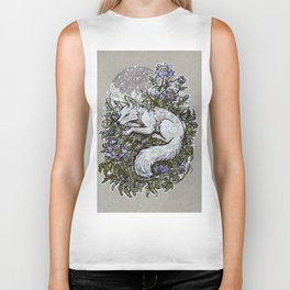 Snowfall Peonies and Arctic Fox Biker Tank