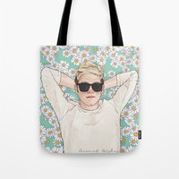 coconutwishes Tote Bags featuring Niall daisies field by Coconut Wishes