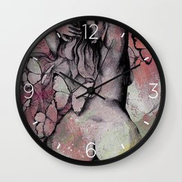 Sugar Coated Sour: Pomegranate (nude curvy pin up with butterflies) Wall Clock