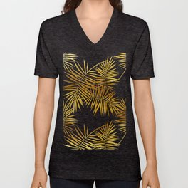 Tropical Palm Fronds Noir Unisex V-Neck