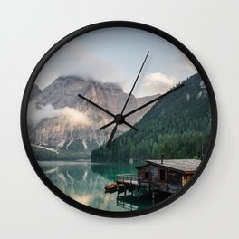 Mountain Lake Cabin Retreat Wall Clock