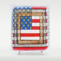 american flag Shower Curtains featuring American Flag by Steve Hester