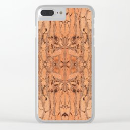 Brown natural cork material texture Clear iPhone Case