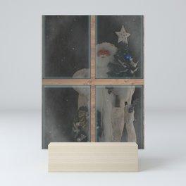 Father Christmas in Window Mini Art Print