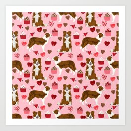 Border Collie red coat cupcakes valentines hearts dog breed pet friendly gifts for collie lovers Art Print