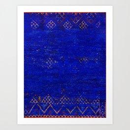 V11 Calm Blue Printed of Original Traditional Moroccan Carpet Art Print