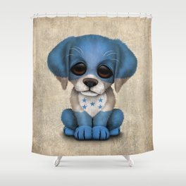 Cute Puppy Dog with flag of Honduras Shower Curtain