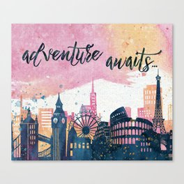 Adventure Awaits Watercolor Canvas Print