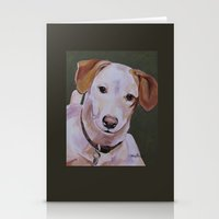jack russell Stationery Cards featuring Jack Russell Dog Portrait by Karren Garces Pet Art
