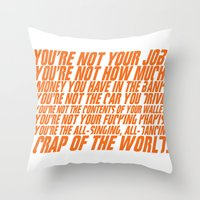 wallet Throw Pillows featuring Fight Club by elvisbr