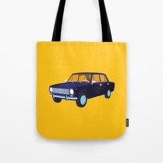 Blue Retro Car Tote Bag
