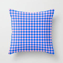 Cotton Candy Pink and Brandeis Blue Diamonds Throw Pillow