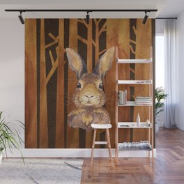 Rabbit in the forest - abstract animal hare watercolor illustration Wall Mural
