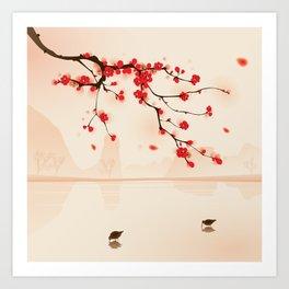 Oriental plum blossom in spring 002 Art Print