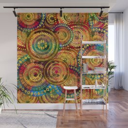 Colorful Circular Tribal  pattern with gold Wall Mural