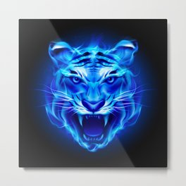 Blue Fire Tiger Face Metal Print