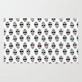 Sugar Skull Pattern on White Rug